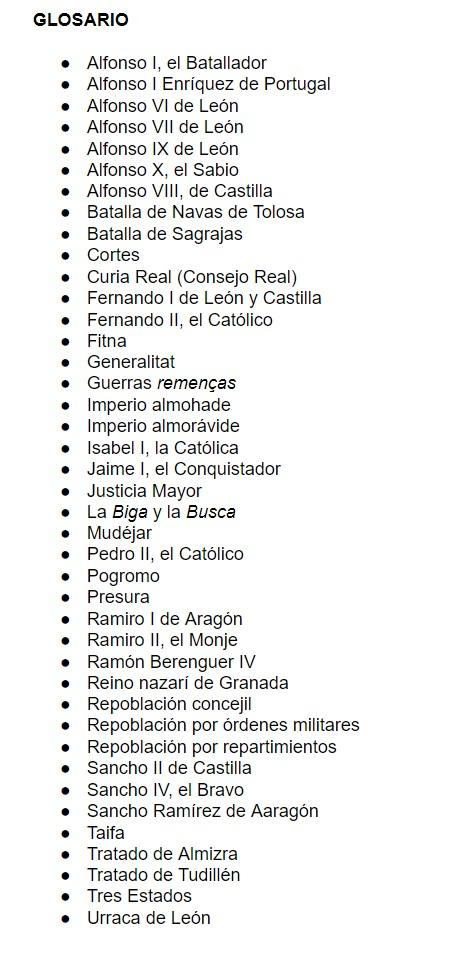 GLOSARIO 12. LOS GRANDES REINOS CRISTIANOS PENINSULARES Y AL-ÁNDALUS